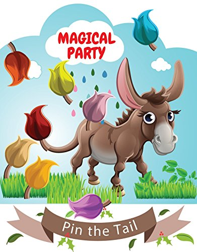 LARZN Pin the Tail on the Donkey Party Favor Games Party Supplies,New, Extra Tails,Pin the Tail Games
