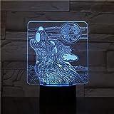 Lobo bajo la luna animal creativo lámpara de mesa pequeña luz LED luz visual 3D acrílico decoración creativa lámpara de mesa pequeña luz de noche multicolor