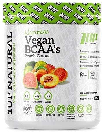 1Up Nutrition Natural Vegan BCAA + Glutamine, Peach Guava, 350 g