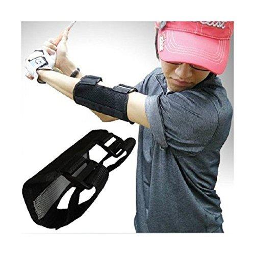 (RONGUI) ゴルフ スイング 矯正 手打ち 防止 練習 肘 サポータープロ (ブラック)