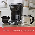 BLACK+DECKER DLX1050B 12-cup Programmable Coffee Maker with glass carafe, Black 13 QuickTouch Programming - Easily program the 24-hour auto brew feature so you can wake up to a fresh pot of coffee Digital Controls with Rubberized Feel - Large, rubberized buttons give you full control of the coffeemaker, and the easy-read screen displays the clock, brew time, and programming options Sneak-a-Cup - This feature temporarily stops the flow of coffee so you can pour your first cup before brewing ends without making a mess