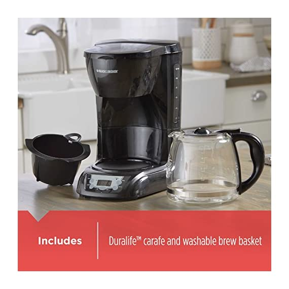 BLACK+DECKER DLX1050B 12-cup Programmable Coffee Maker with glass carafe, Black 5 QuickTouch Programming - Easily program the 24-hour auto brew feature so you can wake up to a fresh pot of coffee Digital Controls with Rubberized Feel - Large, rubberized buttons give you full control of the coffeemaker, and the easy-read screen displays the clock, brew time, and programming options Sneak-a-Cup - This feature temporarily stops the flow of coffee so you can pour your first cup before brewing ends without making a mess