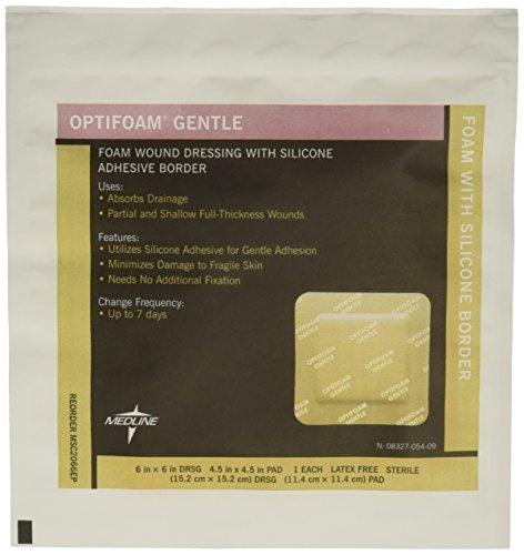 Medline MSC2066EPZ Optifoam Gentle Border Adhesive Dressings, 6' x 6' (Pack of 10)