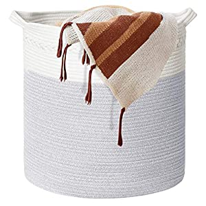 """Cotton Rope Storage Basket, Woven Laundry Basket for Blankets, Decorative Basket for Toys, Nursery, Pillows and Towels, Baby Laundry Basket with Handles-White+Grey(18""""x20"""")"""