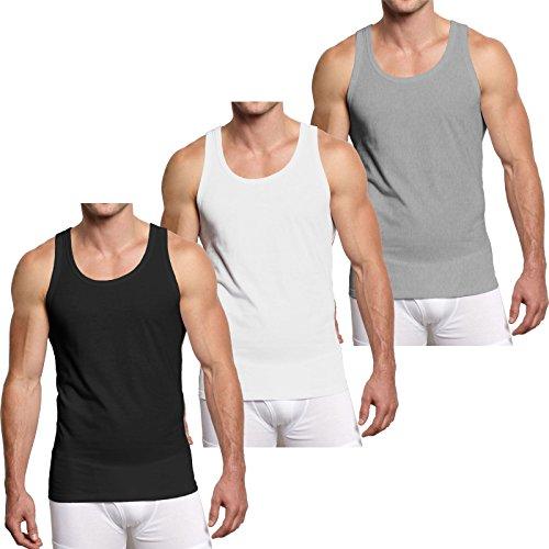 Generic - Camiseta Interior - Chaleco - Cuchara - para Hombre Black + Grey + White Pack of 3 XL