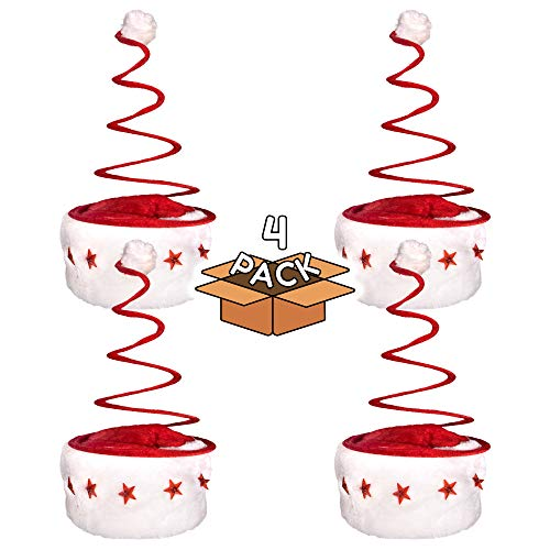 LED Light Up Red and White Festive Christmas Spring Santa Hat for Kids and Adults - 4 Pack