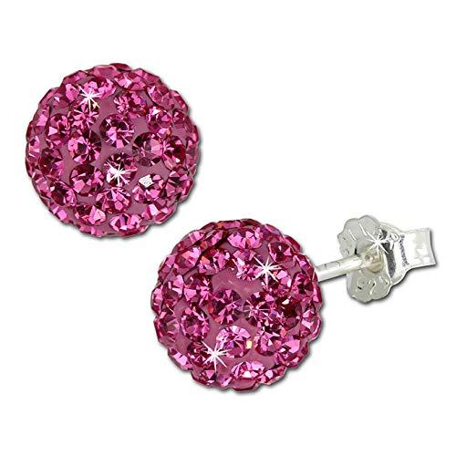 SilberDream GSO2808P - Pendientes de bola de parpadeo de 8 mm rosa brillante de plata 925 con cristales checos Preciosa cristal