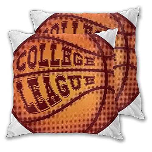 LONSANT Fundas de Cojines 50x50cm,Inscripción de Pelota de Baloncesto Universidad Deportes de acción Recreación Atleta Jugador de Ataque Baller Basket,Almohada Funda de cojín para sofá,Pack de 2