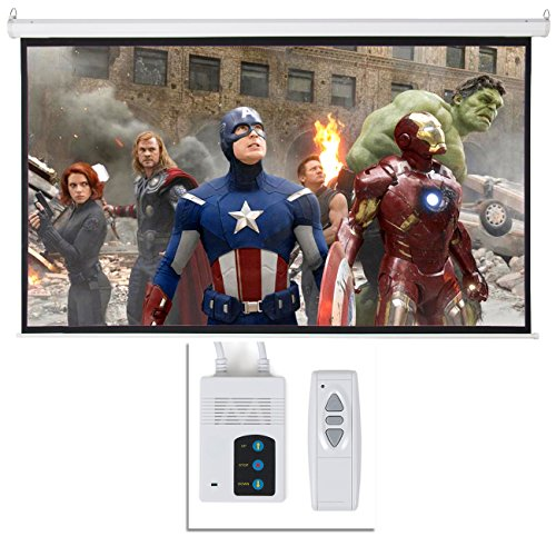 ARKSEN Foldable Electric Motorized Projector Screen w/Remote Control, 16:9, 100'