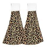 FULUHUAPIN 2 toallas de mano de terciopelo coral con estampado de leopardo, suaves y de secado rápido, para cocina, baño 20307714