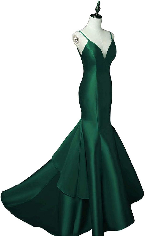 LEJY Women's Long Mermaid Prom Dress Spaghetti Strap Satin Evening Dresses Backless