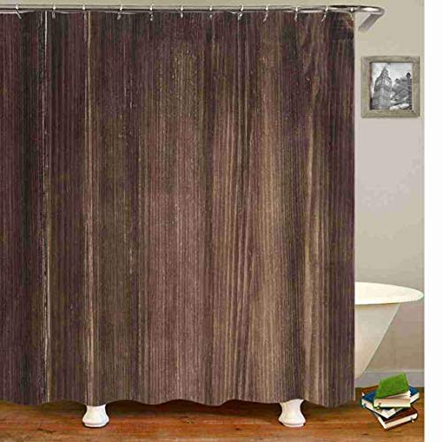 YUNBABA Wooden Shower Curtain Old Brown Board Cuntry Life Theme Curtains for Bathroom Decor 72x72 Inch