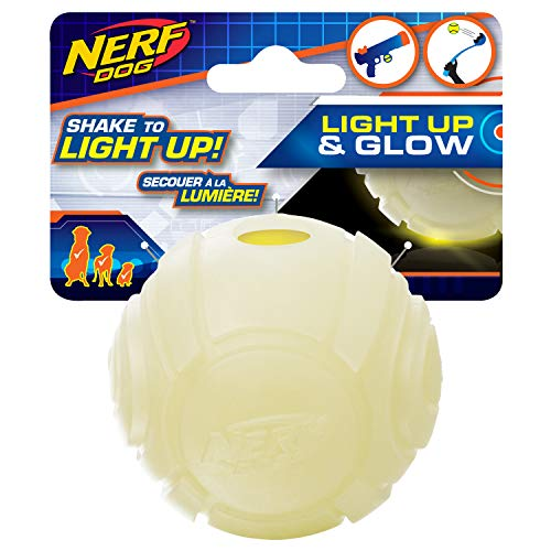 Nerf Dog Glow Ball Dog Toy with Interactive LED, Lightweight, Durable and Water Resistant, 2.5 Inches, for Small/Medium/Large Breeds, Single Unit, No Color