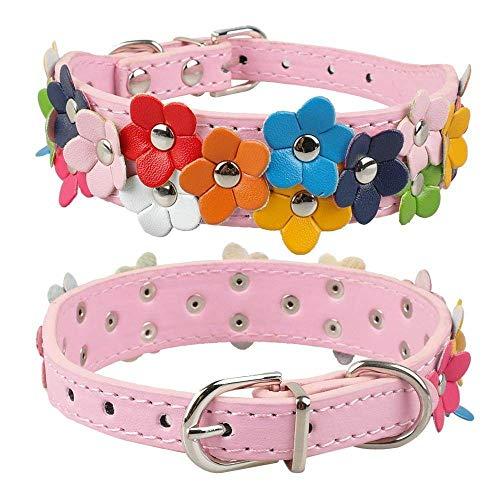 Hondenhalsband, roze bloem lief leer met klinknagels ketting huisdier honden halsbanden voor kleine en middelgrote honden Roze All Seasons ademende gewatteerde gezellige lichte outdoor training, Small