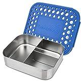 LunchBots Trio 2 Edelstahl Nahrungsmittelbehälter – Drei Abschnitt Design, perfekt für gesunde Snacks, beilagen oder Finger Foods – Umweltfreundlich, Spülmaschinenfest und BPA frei – Blau Gepunktet