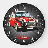 prz0vprz0v Reloj clásico de madera, no hace tictac, 30,48 cm, mini Cooper grande pared de madera decorativo redondo