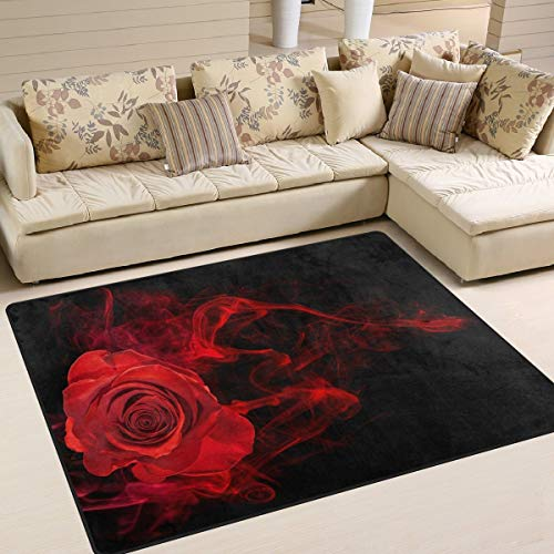 Large Area Rugs 5'3' x 4',Rose in Smoke Swirl On Black Printed Lightweight Non Slip Floor Carpet for Living Room Bedroom Home Deck Patio