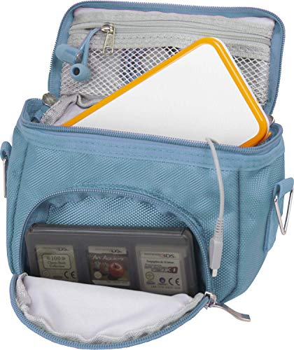 Orzly High Quality Multi Shoulder Bag for Nintendo DS (Suitable for Versions of DS with a folding screen):DS / DS Lite / 3DS / 3DS XL / New 3DS / New 3DS XL / 2DS XL) - Portable Bag with Carry Handle and Adjustable Shoulder Strap, Belt Clip,Blue