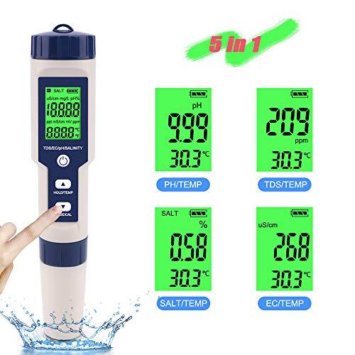 BACOME PH Meter Digitaler Wasserqualitätstester 5 in 1 PH/TDS/Salt/EC/Temperaturtester Wasserdichter Bodenwasserqualitätsdetektor Für Aquarium, Kaffee Und Trinkwasser