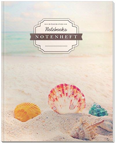 DÉKOKIND Notenheft | DIN A4, 64 Seiten, 12 Notensysteme pro Seite, Inhaltsverzeichnis, Vintage Softcover | Dickes Notenbuch | Motiv: Beach Dreams