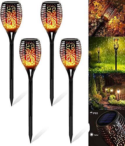 ZHENGYI Solar Fackel Garten Solar Flammenlicht mit wasserdicht IP65 Gartenleuchten 4 Stück Solarleuchte Automatische EIN/Aus Solar Fackel Solarlampen mit Realistischen Flammen für Außen