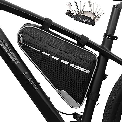 Bolsa de marco de bicicleta, bolsa de tubo superior para bicicleta bolsa de triángulo de ciclismo, bolsa de sillín frontal para bicicleta y kit de herramientas de reparación multifunción 16 en 1