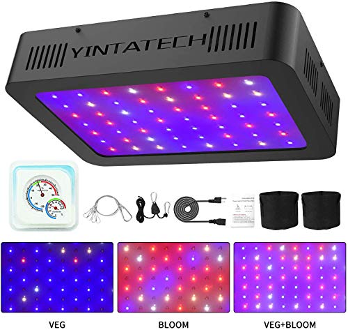 Yintatech 600W LED Grow Light, Growing Lamp Full Spectrum for Indoor Hydroponic Greenhouse Plants Veg and Flower with Double Switch, Daisy Chain, Adjustable Rope Hanger, Hygrometer Thermometer