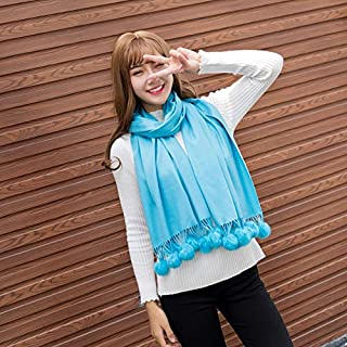 SILWJPF Autumn And Winter Wild Rabbit Ball Scarf Shawl Ladies Dual-use Small Fresh Version Long Thick Cute Scarf
