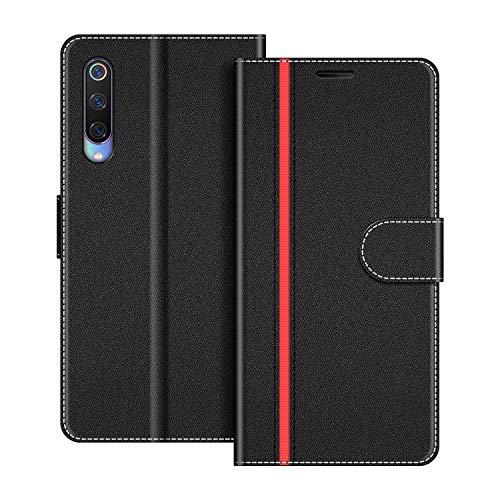 COODIO Funda Xiaomi Mi 9 con Tapa, Funda Movil Xiaomi Mi 9, Funda Libro Xiaomi Mi 9 Carcasa Magnético Funda para Xiaomi Mi 9, Negro/Rojo