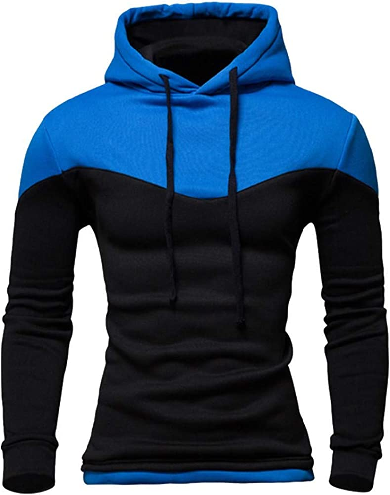 Misaky Hoodies for Men Autumn & Winter Casual Colorblock Slim Long Sleeve Pullover Hoodie Sweater Tops Outwear