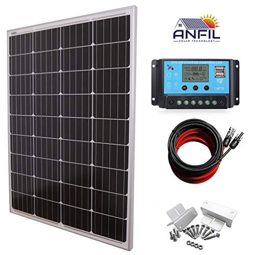 ANFIL Panneau solaire 100 watts 12 volts Mono + Régulateur de Charge Solaire MIL 20A 12/24V + 3m Câble d'extension 4mm²(12 AWG) avec connecteurs MC4 + Kit supports de montage Style Z