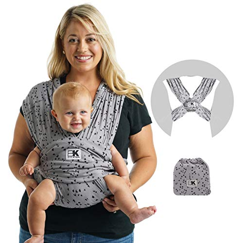 Baby K'tan Print Baby Wrap Carrier, Infant and Child Sling - Simple Pre-Wrapped Holder for Babywearing-No Tying or Rings-Carry Newborn up to 35 lbs, Sweetheart Grey, M (W Dress 10-14 / M Jacket 39-42)