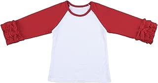 Toddler Girls Icing Ruffle Shirts Unicorn Printed Birthday Ruffles T-Shirt Top Long Sleeve Raglan Tee School Undershirt