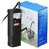 OMORC Filtre Aquarium 20L-60L, Pompe Filtre Interne avec 2 Éponges Filtrantes, Installation Facile, Débit Réglable,...