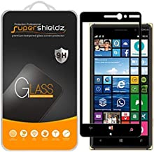 (2 Pack) Supershieldz for Nokia Lumia 830 Tempered Glass Screen Protector, (Full Screen Coverage) 0.33mm, Anti Scratch, Bubble Free (Black)