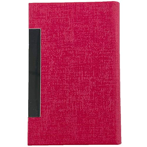 Business Card Holder Case Luxury PU Leather & Stainless Steel Magnetic Shut Multi Card Case Wallet Credit Card ID Case/Holder for Men & Women Professional (Rose Red)
