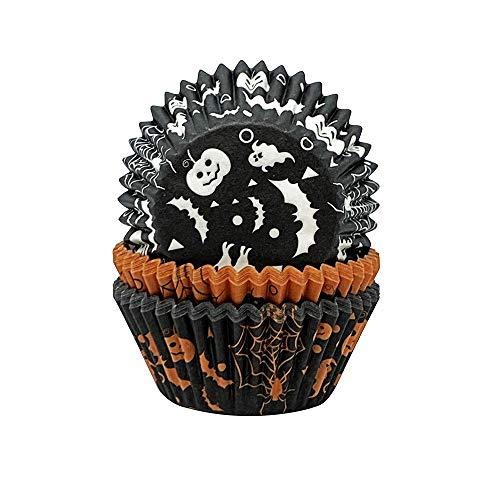 Creative Party CC048A czarno-pomarańczowe nadrukowane Halloween foremki na babeczki - 75 szt