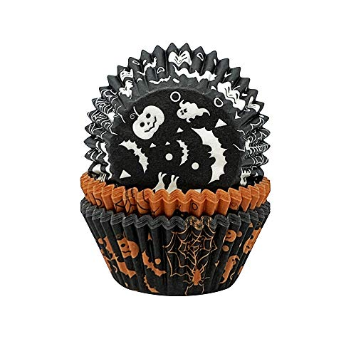 Creative Party CC048A Black and Orange Printed Halloween Cupcake Cases-75 Pcs