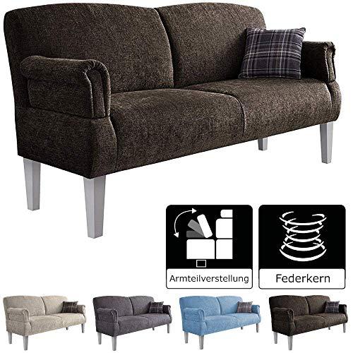 Cavadore 3-Sitzer Sofa Pasle mit Federkern für Küche, Esszimmer / Küchensofa, Essbank im modernen Landhausstil / verstellbare Armlehnen / Holzfüße...