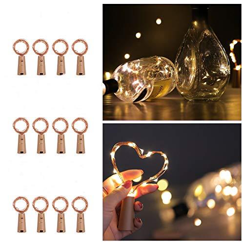 Ehome - Botellas de luz LED (12 x 20 ledes, para botellas de vino, bodas, fiestas, decoración romántica (cálida)