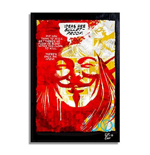 V de Vendetta DC Comics - Pintura Enmarcado Original, Imagen Pop-Art, Impresión...