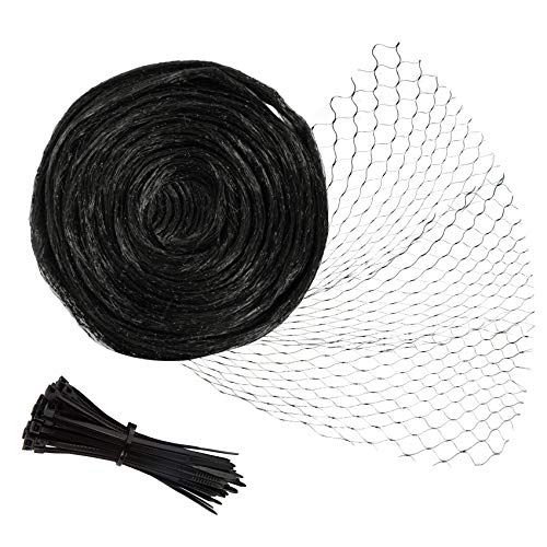 Unves Anti-Birds Netting, 6.5x50 Feet Durable Heavy Duty Fruit Tree Netting, Garden Netting Protect Fruit Trees Blueberries Plants and Vegetables from Animals and Bird Netting with 50pcs Twist Ties