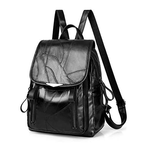 TLF PU-Schaffell-Leder Doppel Schultern Schultasche Reise Rucksack Tasche TLF (Color : Black, Size : OneSize)