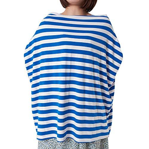 CROSEY 授乳ケープ 授乳服 コットン ポンチョ型 360度カバー 伸縮 フリーサイズ トップス (ブルー/ホワイト)