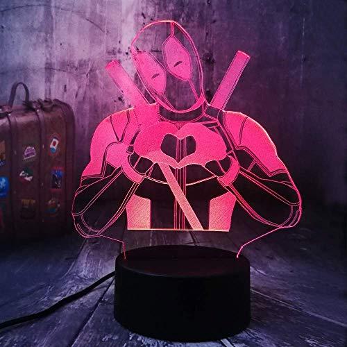 Festival Lindo Marvel Superhéroe Amor Deadpool 3D Luz de Noche Led Lámpara de Mesa USB Decoración del Hogar Festival de Navidad Niño Cumpleaños Chico Juguetes