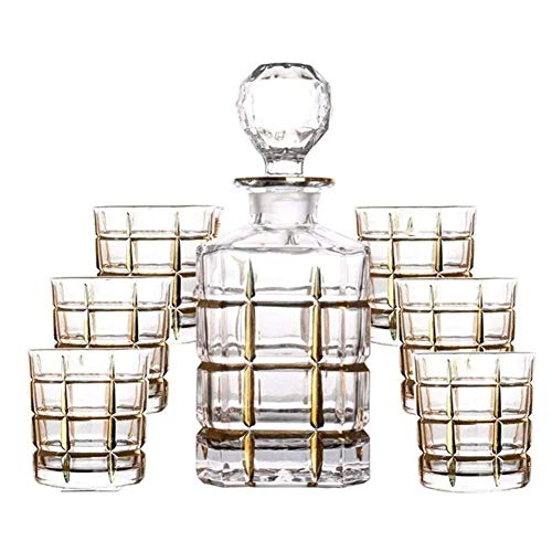 HLR Vasos de Whisky Jarra de Whisky Juego de 7 Piezas Decantador de Whisky Gafas de Cristal sin Plomo Botella de Vino Tinto Dibujo de Oro Línea de Oro Jarra de Vino Regalo de la casa