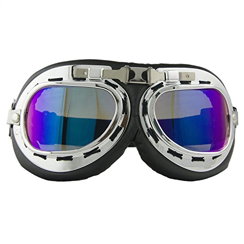 ShareWe Motocicleta Gafas Harley Estilo Gafas de Ciclismo Crucero Road Riding Protección UV Gafas de Moto (Transparente)