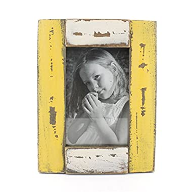 4x6 Inches Simple Rectangular Wood Desktop Family Picture Photo Frame with Glass Front (Yellow and White)