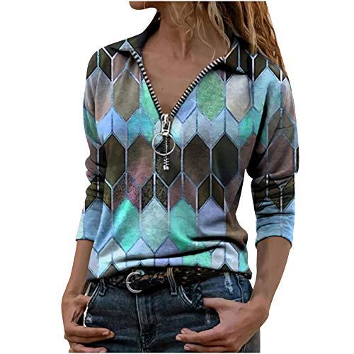 BUKINIE Damen-Bluse mit Reißverschluss, V-Ausschnitt, geometrisches Rautenmuster, langärmelig, Reverskragen, modisch, lockere Tunika, Hemden Gr. Small, blau