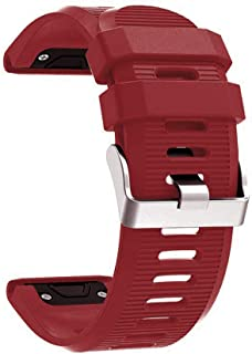 Haotop Bands Compatible with Garmin Fenix 5X 26mm(Watch Not Included), Soft Silicone Strap for Garmin Fenix 5X/Fenix 5X Plus/Fenix 3 26mm (Wine Red)